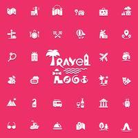 Jeu de logo et icônes de voyage vecteur