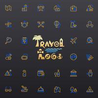 Logo et icônes de voyage vecteur
