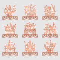 Ensemble d'icônes de plate-forme pétrolière.