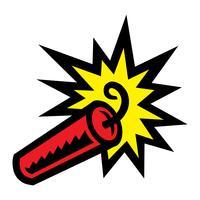 Bâton de dessin animé de TNT dynamite explosive avec fusible allumé