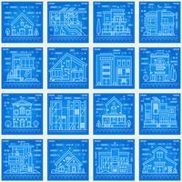 Maisons imprimées en bleu.