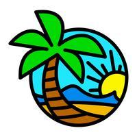Icône de vecteur été plage vagues océan palmier tropical vacances vacances