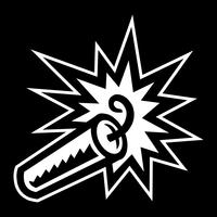 Bâton de dessin animé de TNT dynamite explosive avec fusible allumé vecteur