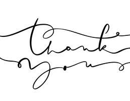 texte de calligraphie de vecteur vintage Merci. Dessinés à la main isolé sur fond blanc. Illustration de lettrage calligraphique pour mariage, carte de voeux, tag
