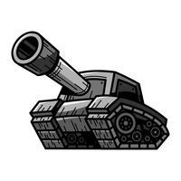 Dessin animé armée Tank Machine avec illustration vectorielle Big Cannon Ready to Fire