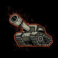 Dessin animé armée Tank Machine avec illustration vectorielle Big Cannon Ready to Fire vecteur