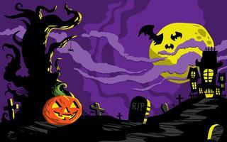 Modèle de fond de maison hantée d'Halloween vecteur
