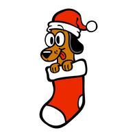 Chien de bande dessinée bonnet de noel bas de Noël