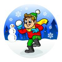 Enfant jetant une boule de neige