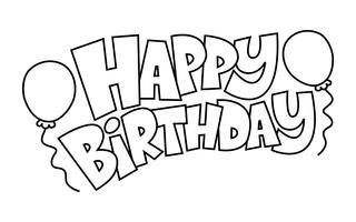 Graphique de texte coloré joyeux anniversaire avec logo vectoriel Party Balloons
