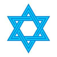 Etoile de David juive à six branches en noir avec icône de vecteur de Style de verrouillage