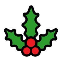 Gui de vacances de Noël aux baies rouges et feuilles vertes vecteur