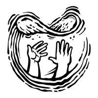 Mains du chef jetant la pâte à pizza en l'air, logo vectoriel Pizzeria