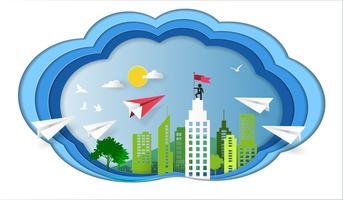 Concept de leadership, avion rouge et blanc volant dans le ciel à la construction architecturale avec homme d'affaires au sommet tenant le drapeau.