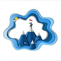 Concept de leadership et de réussite, l'homme est au sommet de la montagne avec drapeau.