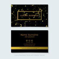 Modèle de vecteur de cartes de visite de luxe, bannière et couverture avec texture en marbre et détails de la feuille d'or.