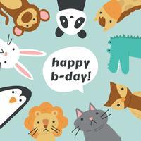 Animaux amis fêtant un anniversaire