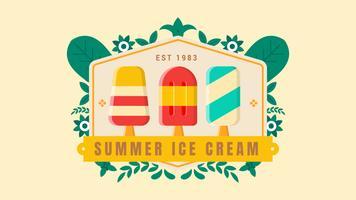 Insigne de la crème glacée de l'été avec ornement de feuilles sur le fond clair vecteur