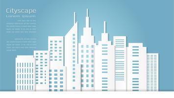 Style d'art de papier pour le bâtiment architectural et fond de paysage urbain.