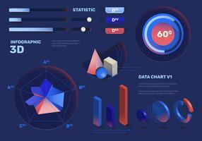 Ensemble de vecteur d'élément d'infographie 3D élégant