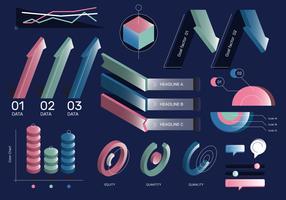 Ensemble de vecteur d'éléments de couleur 3D rétro classique d'infographie