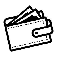 Icône de vecteur de portefeuille d'argent
