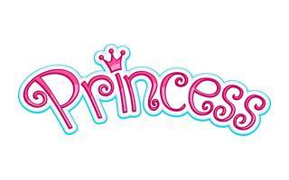 Pink Girly Princess Logo texte graphique avec couronne