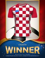 Coupe de football 2018, concept vainqueur de la Croatie. vecteur
