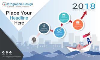 Modèle d'infographie d'entreprise, chronologie de jalon ou feuille de route avec options de l'organigramme de processus 4 vecteur