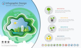 Plantes de plus en plus infographie chronologie avec jeu d'icônes, sauver le monde et aller vert concept ou modèle de diagramme business vert. vecteur