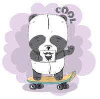 Joli petit panda sur une planche à roulettes vecteur