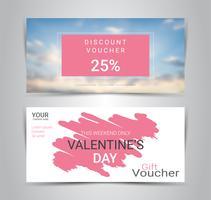 Joyeuse Saint-Valentin, bons cadeaux et chèques cadeaux, modèle de promotion web bannière ou coupon rabais avec arrière-plan flou. vecteur
