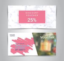 Chèques-cadeaux et bons d'achat, coupon de réduction ou modèle web bannière avec un arrière-plan flou vecteur