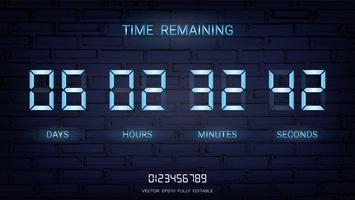 Compte à rebours restant ou Tableau d'affichage du compteur d'horloge avec l'affichage des jours, des heures, des minutes et des secondes.