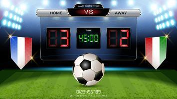 Tableau de bord numérique, équipe de match de football A vs équipe B, modèle graphique de diffusion de stratégie. vecteur