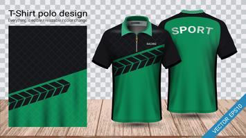 Conception de t-shirt polo avec fermeture à glissière, modèle de maquette sport en jersey de football pour kit de football ou uniforme de vêtements de sport. vecteur