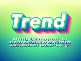 Police de caractères verte tendance et conviviale moderne vecteur