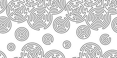 Monochrome doodle abstrait sans soudure avec la ligne de trait.