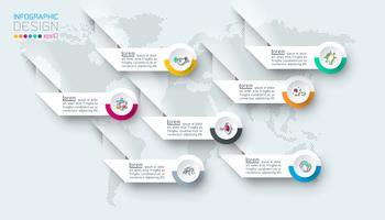Sept étiquettes avec infographie icône affaires.