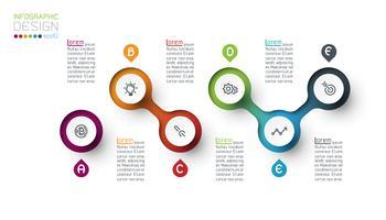 Cercle infographie étiquette avec étape par étape. vecteur