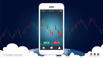 Concept commercial stock mobile avec chandelier et graphiques graphique à l'écran.