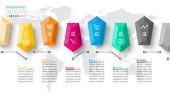 Barres d'étiquettes infographiques à 6 étapes.