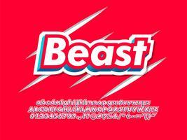 Police typographique de la bête rouge pour le logo de la marque moderne vecteur