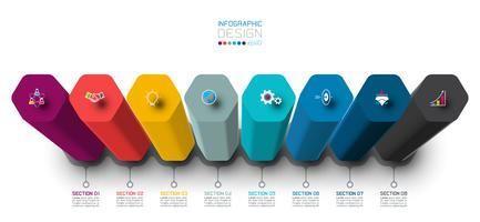 Création d'étiquettes infographie vectorielle avec conception de colonnes hexagonales. vecteur
