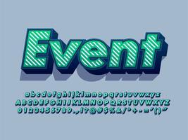 Texte de typographie de police 3d avec motif à rayures vecteur