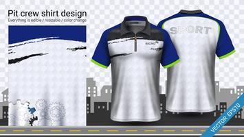 T-shirt de course avec fermeture à glissière, modèle de maquette de vêtements de sport. vecteur