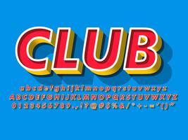 Alphabet rouge avec fond jaune et extrude
