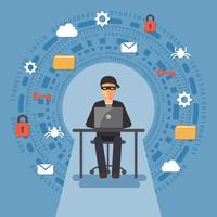 Concept de cyber-sécurité et de la criminalité. vecteur