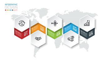 Les étiquettes commerciales à six pans creux forment la barre de groupes infographiques. vecteur