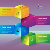 Élément de conception en forme abstrait coloré infographie 3D vecteur